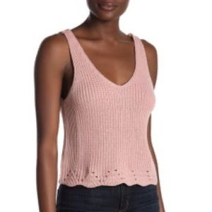 Pink Cotton Emporium Cropped Knit Sweater Tank